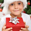 Pure happiness - boy with christmas present — Stock Photo