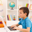 Boy playing or working on laptop computer — Stock Photo