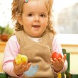 Little girl with easter egg and chicken — Stock Photo
