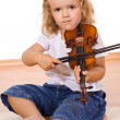 Little girl practicing the violin — Stock Photo