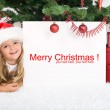 Little girl under the christmas tree with banner — Stock Photo #6409923