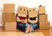 Happy couple in their new home concept — Stock Photo