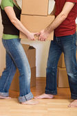 Para, mężczyzna i kobieta, przenoszenia kartonów — Zdjęcie stockowe