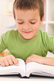 Boy practice reading at home — Stock Photo
