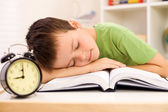 Boy fallen asleep on his book while studying — Stock Photo