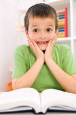 Little boy forgot reading - back to school concept — Stock Photo