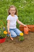 Little girl gardening — Stock Photo
