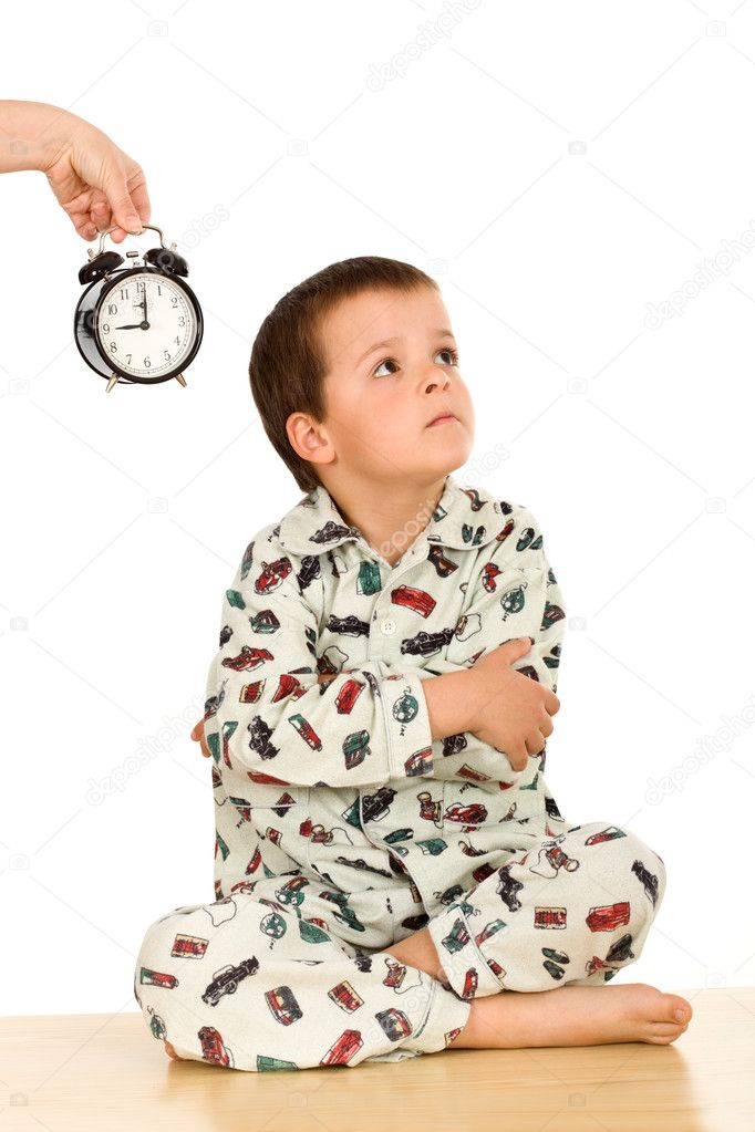Kid not happy about sleeping - bedtime concept, isolated  Stock Photo #6409318