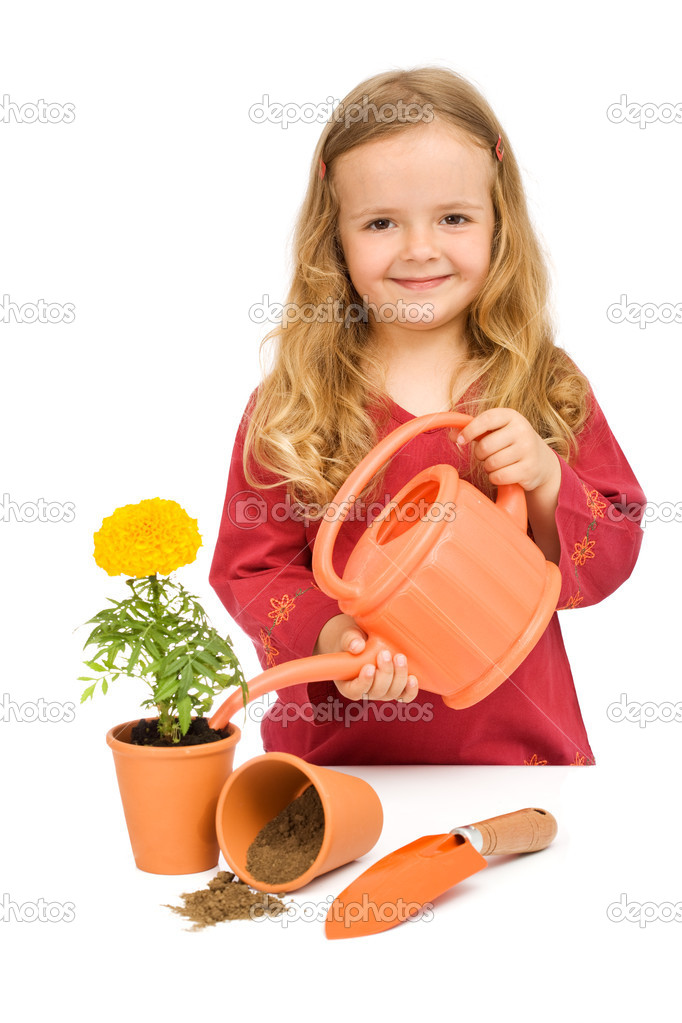 Little girl planting and watering flowers in pots - isolated — Stock Photo #6409829