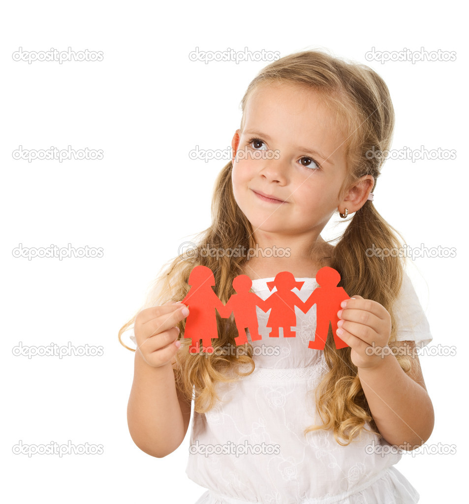 Little girl thinking of her family holding paper - isolated — Stockfoto #6409867