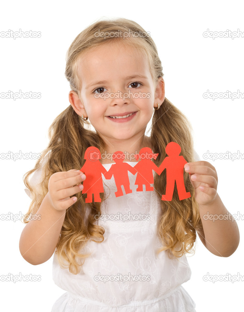 Little happy girl holding paper - united family concept, isolated — Stock Photo #6409894