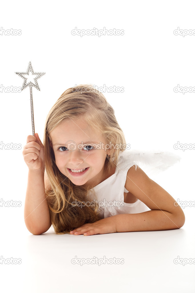 Little angel fairy with magic wand smiling - isolated  Stock Photo #6409966
