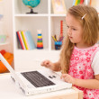 Little girl learning to handle a laptop computer — Stock Photo #6410023