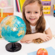 Happy preschooler eager to go to school — Stock Photo