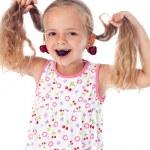 flicka med körsbär örhängen — Stockfoto #6410059