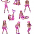Roller skater girl in  different positions - Stock Photo
