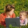 Happy woman and little girl relaxing outdoors — Stock Photo