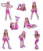 Roller skater girl in different positions — Stock Photo