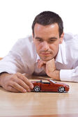 Businessman contemplating - isolated — Stock Photo
