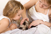 Little girl and her mother stroking a kitten — Stockfoto