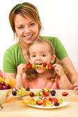 Eating a healthy snack — Stock Photo