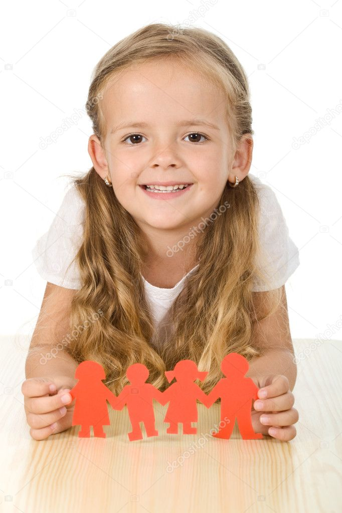 Happy girl holding paper - family concept  Stock Photo #6410033