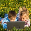 Kids using laptop on the spring flower field — Stock Photo #6430166