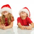 Two kids having fun at christmas time — Stock Photo