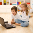 Stressed kids about to win online game — Stock Photo