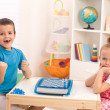 Childhood rivalry among siblings — Stock Photo