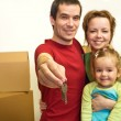 Family with the keys of their new home — Stock Photo #6430412