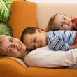 Woman and children together at home — Stock Photo