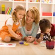 Family fun painting hands — Stock Photo #6430584