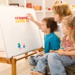 Kids learning the numbers with their mother — Stock Photo