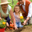 Grandparents teaching little girl ways of gardening — Stock Photo #6430656