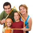 família feliz com seus filhos - conceito imobiliária — Foto Stock