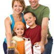 Foto Stock: Happy family ready to paint