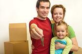 家庭与键的新的家园 — 图库照片