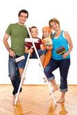 Szczęśliwą rodziną, malarstwo naczynia — Zdjęcie stockowe