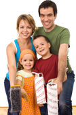 Happy family ready to paint — Stock Photo