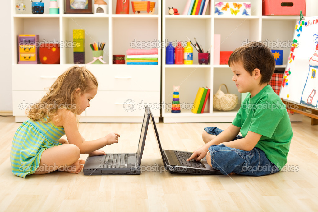 Kids Playing Computer Games Stock Photo 6430250