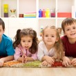Foto Stock: Kids in their room ready for their closeup