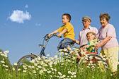 Andar com os avós — Fotografia Stock