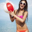 Playing beach ball — Stock Photo