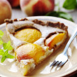 Slice of peach tart — Stock Photo