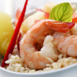 Closeup of shrimps with pineapple,red pepper and rice, red curry,coconut an — Stock Photo #6362826