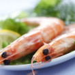 Two prawns on a plate with lemon, lettuce and dill — Stock Photo