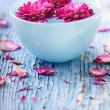 Flowers floating in water in bowl — Stock Photo