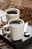 Coffee beans and coffee — Stock Photo