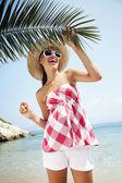 Mutlu plaj — Stok fotoğraf